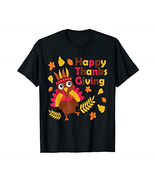 Thanksgiving Shirt Cute Happy Turkey Tee for Adults and kids - $24.34