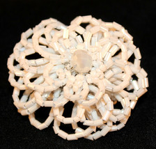 White Seed Bead Floral Power Flower Unique Giant Poof Fashion Stretch Ri... - $7.97