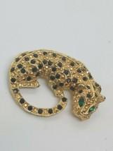 Vintage Leopard Brooch Pin Black Rhinestone Spots & Green Eyes Cat - $12.23