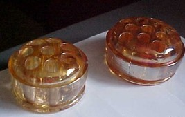 2   vintage   carnival/irridescent colored glass flower frogs - $5.50