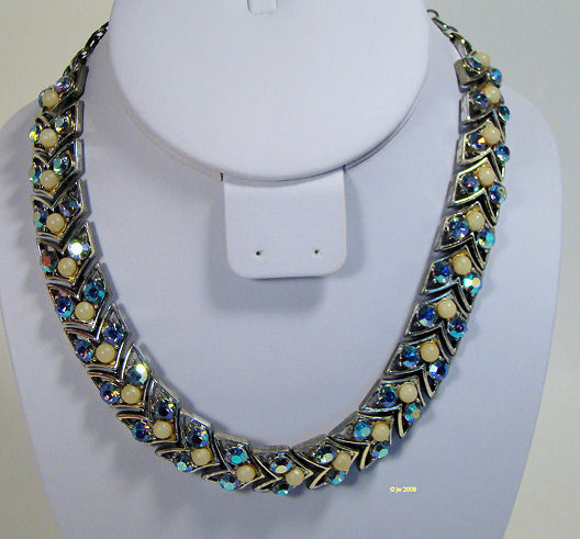 Vintage Coro Rhinstone and Faux Pearl Necklace