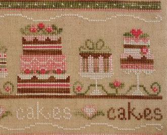 Party Cakes birthday cross stitch chart Country Cottage Needleworks