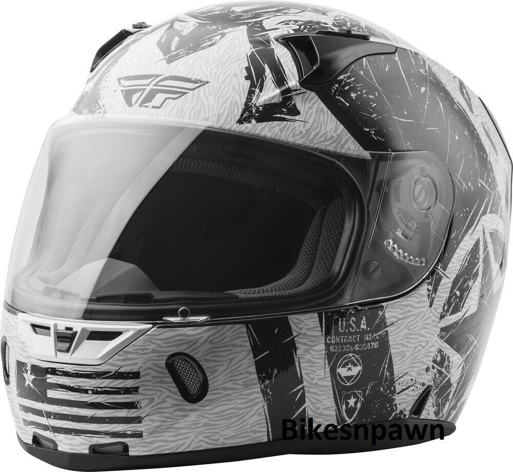 2XL Fly Racing Revolt Liberator Motorcycle Helmet Gloss White/Black DOT & Snell