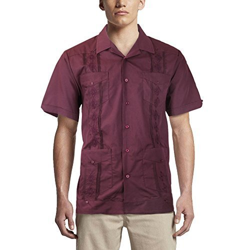 Alberto Cardinali Men's Guayabera Short Sleeve Cuban Casual Dress Shirt (M, Burg