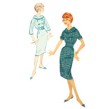 An item in the Collectibles category: 1950s Vintage Advance Sewing Pattern 9102 Teen Sheath Dress Short 3/4 Sleeve 12