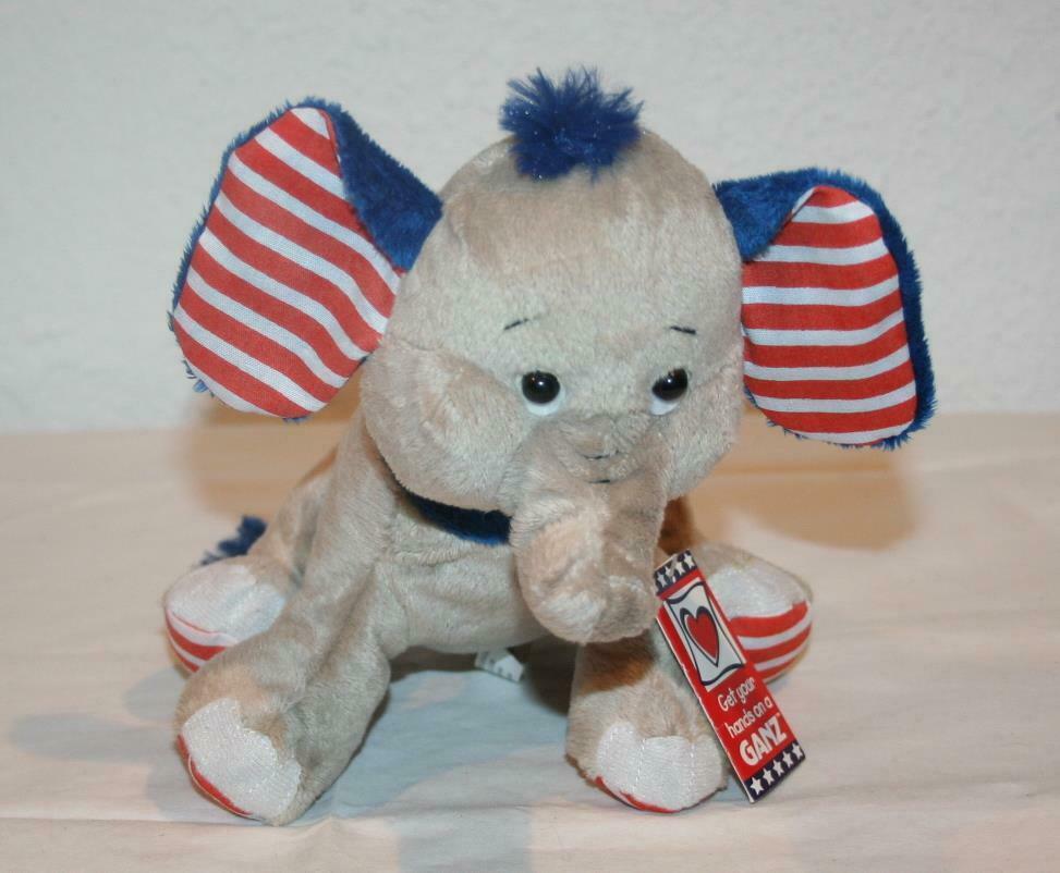 NWT GANZ Elephant H11969 Gray Blue NEW Stuffed Patriotic / Stars and Stripes