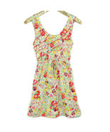 No Boundaries Juniors Sun Dress Floral Size S Small 3 5 Beige Red Yellow... - $29.65
