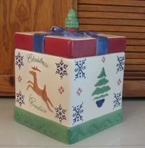 Pfaltzgraff Pottery NORDIC Cookie Jar Holiday Package Tree Deer  - $32.66