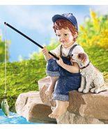 Little Boy Fishing & Dog Outdoor Garden Sculpture - $21.95