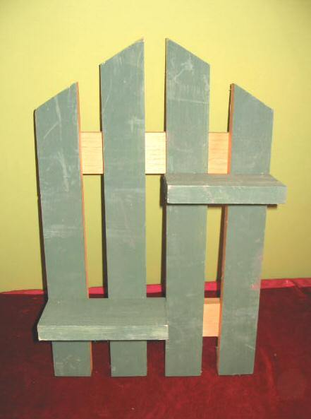 2 Decorative Pine Picket Fence Wall Hanging Plant Stand