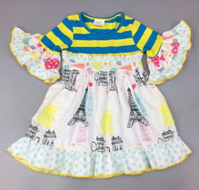 NEW Girls Boutique Eiffel Tower Paris Short Sleeve White Ruffle Dress 6 7 8 - $19.99