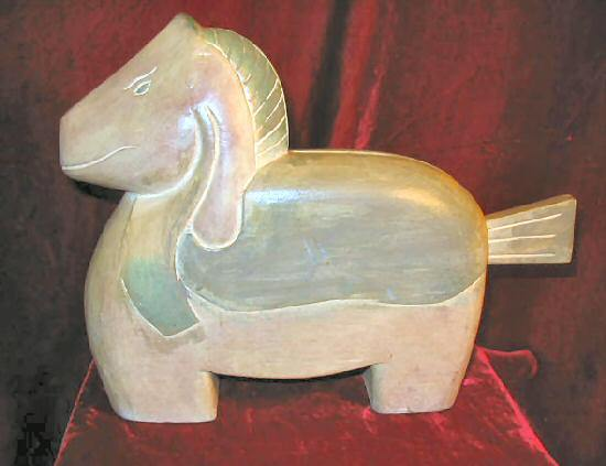 Solid Wooden Hand Carved Painted Horse European Signed