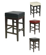 25H Seat Faux Leather Seat Wood Legs Bar Breakfast Counter Stool Chair  - $68.99