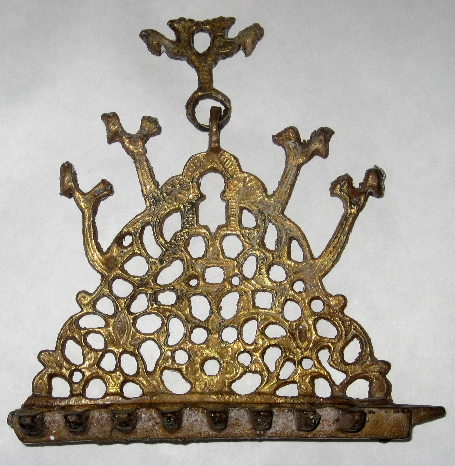 Antique Moroccan Judaica Hanukkah Oil Menorah Engraved Bird Decorated Bronze