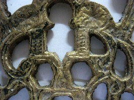 Antique Moroccan Judaica Hanukkah Oil Menorah Engraved Bird Decorated Bronze image 4