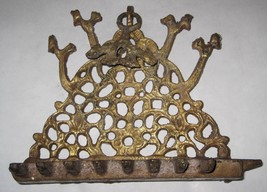 Antique Moroccan Judaica Hanukkah Oil Menorah Engraved Bird Decorated Bronze image 2