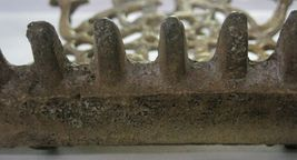 Antique Moroccan Judaica Hanukkah Oil Menorah Engraved Bird Decorated Bronze image 7