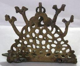Antique Moroccan Judaica Hanukkah Oil Menorah Engraved Bird Decorated Bronze image 8