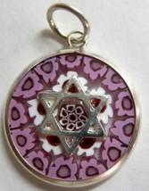 Murano Glass Star Of David Judaica Pendant Millefiori 925 Silver Lilah NEW - $22.90