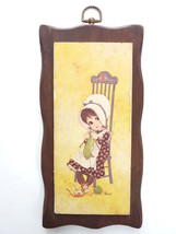 Vintage Ward Litho Girl Knitting with Cat In Rocking Chair Wood Wall Decor - $24.99