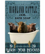 Bath Soap Company Highland Cattle Poster Art Print - Great Gift For Friend - $25.59+