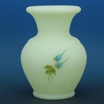Fenton Art Glass Blue Roses Custard Satin c.1981 7554BQ Small Vase image 2