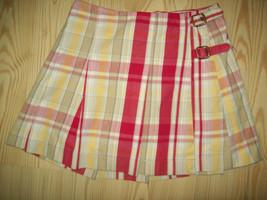 Gap Girls Skirt Sz 10 Pink Red Beige Pleated Buckle Skort Modest School  - $15.83