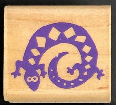 Gecko Lizard Rubber Stamp Wood Mounted Rubber Stampede USA Reptile  - $10.99