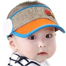 Baby Toddler Sun Protection Hat Infant Cap Without Top 9-36Months(Orange)