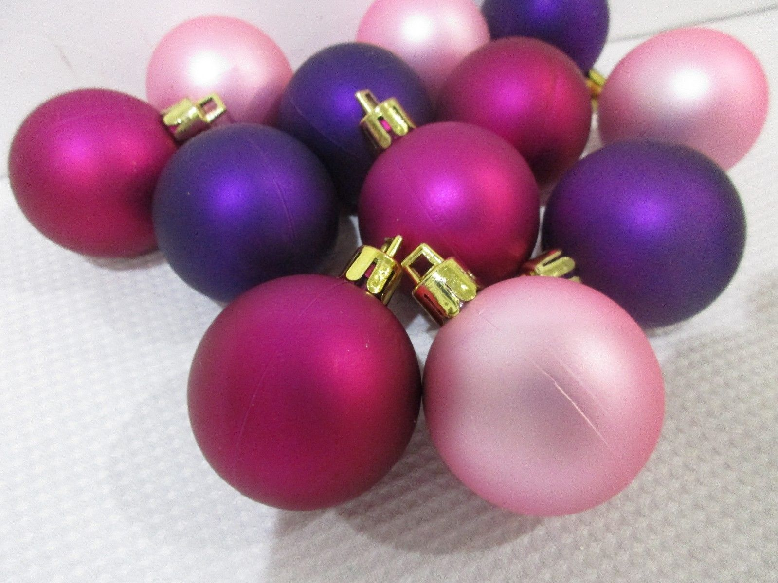 "Primary image for Christmas MINI Pink Purple Magenta Plastic Ornaments 1.5"" Set of 12"