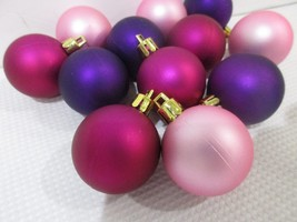 "Christmas MINI Pink Purple Magenta Plastic Ornaments 1.5"" Set of 12 - $12.99"