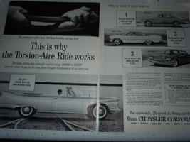 Vintage Chrysler Torsion Aire Ride Double Page Print Magazine Advertisement 1960 - $6.99