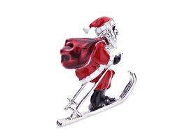 Santa On Sleigh Enamel Christmas Brooch - $10.95
