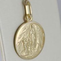 Pendentif Médaille or Jaune 750 18K Notre Dames Lourdes, Madone, Italie Fabriqué image 2