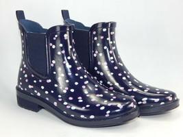 Isaac Mizrahi Live! City Slicker Sz 8 M Women's Printed Rubber Rain Bootie Navy - $38.60