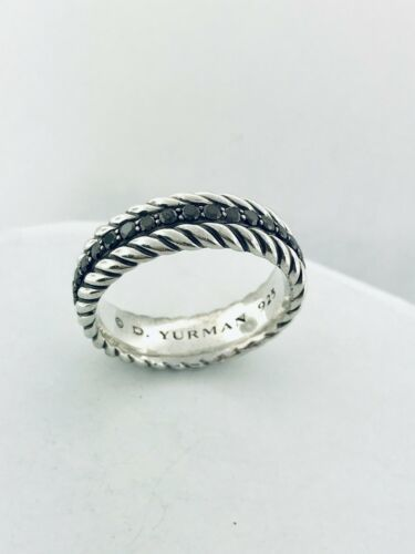 David Yurman Sterling Silver Streamline Black Diamond Cable Ring Band For Men's