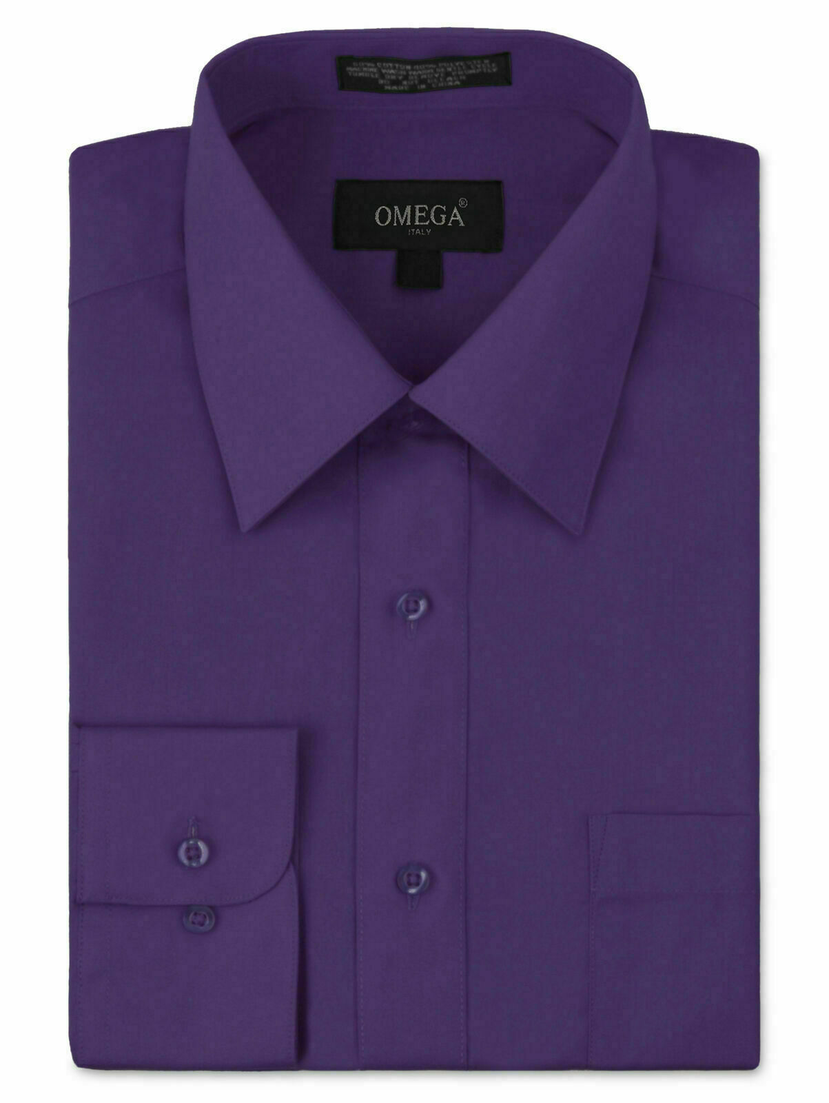 Omega Italy Men's Long Sleeve Solid Barrel Cuff Purple Button Up Dress Shirt 2XL