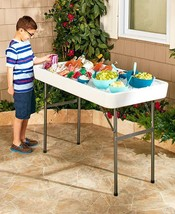 Fill & Chill Table Keep Food & Drinks Cold Backyard Party Camping Weddin... - $86.31