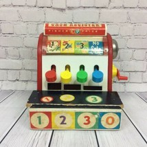 Vintage Fisher Price Cash Register 1960 #972 Wooden Toddler Toy Crank Bell Works - $19.99