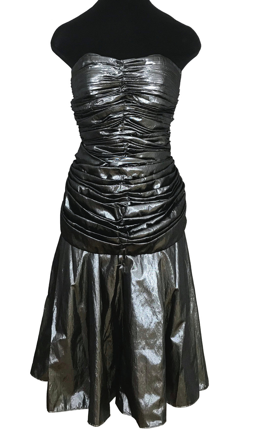 80s Etienne Brunel Paris Silver Metallic Lame Strapless Ruched Swing Party Dress