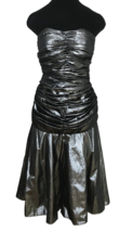 80s Etienne Brunel Paris Silver Metallic Lame Strapless Ruched Swing Par... - $85.00