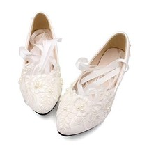 Dress First Women's Strap Wedding Flat Bridal Shoes Low Heel Flats with ... - $43.10