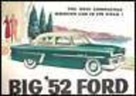 1952 Ford Original Sales Brochure, Mainline Crestline 52 - $9.68