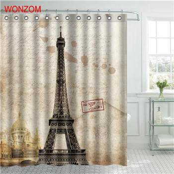 Ower waterproof shower curtain paris bathroom decor scenery decoration cortina de bano 2017 bath
