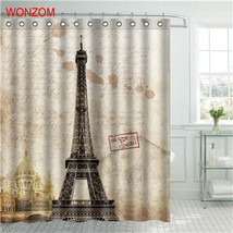 WONZOM Eiffel Tower Waterproof Shower Curtain Paris Bathroom Decor Scene... - $35.15