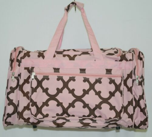 Generic D2211COFFEEP Pink and Coffee Brown Moroccan Duffle Bag