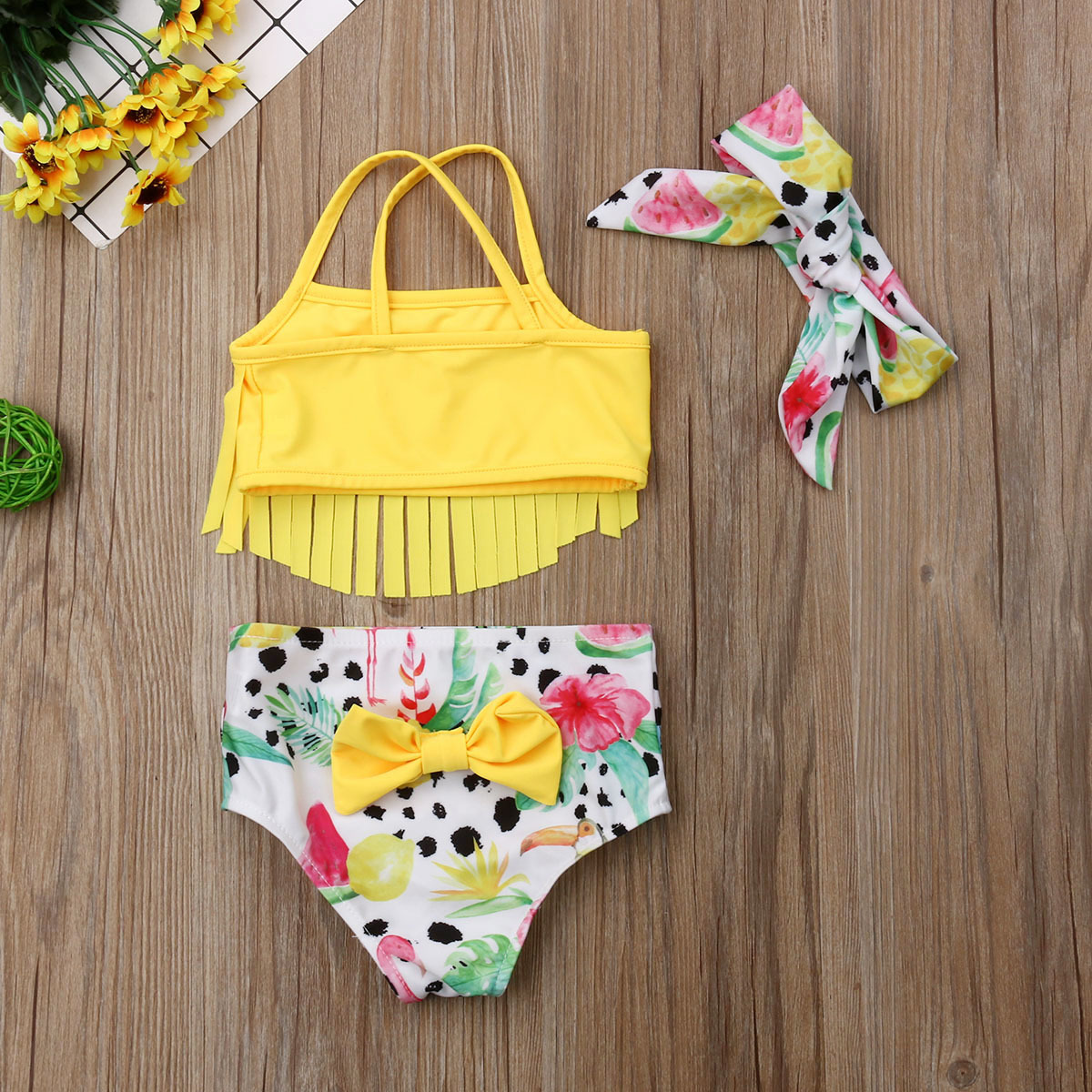 Newborn Infant Baby Girl Swimwear Suit Bird Floral Top Pant Outfit Beach Tankini image 5