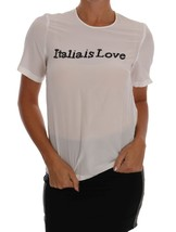 Dolce & Gabbana White Silk ITALIA IS LOVE Blouse T-shirt - $340.00