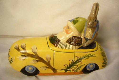 Vaillancourt Folk Art Santa in Car with Rabbitt