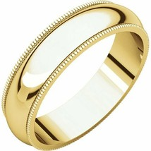 10k Yellow Gold 5 mm High Polished Comfort Fit Double Milgrain Wedding R... - $174.24+